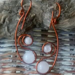 boucles d'oreilles en quartz rose et cuivre-boutiquecarioca.com